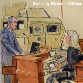 Karcher v. Iran Cases - Osen LLC - Sketch by Elizabeth Williams